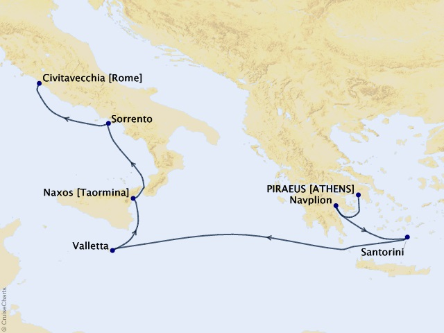 7-night Ionian Impressions Cruise Map