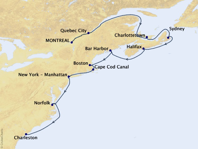 12-night Canada and New England Cruise Map