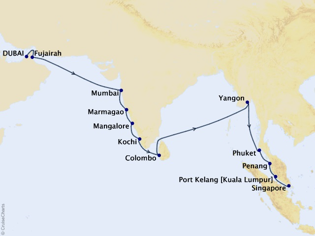 22-night Serene Temples of Asia Cruise Map