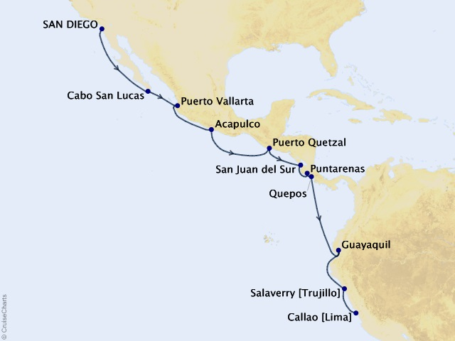 18-night Central and South America Expedition Cruise Itinerary Map