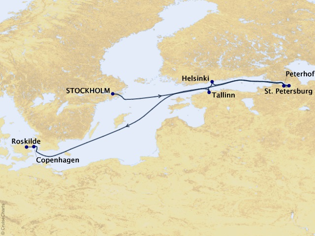 11-night St. Petersburg & the Baltic Sea Southbound Cruise/Land Package Map