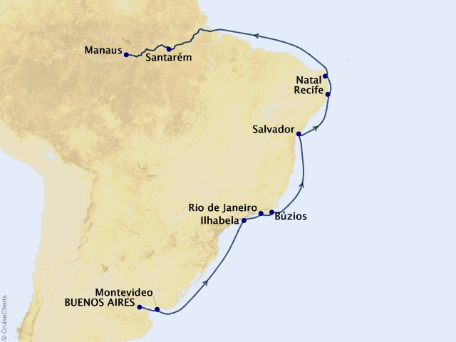 Beauties of Brazil Cruise Map