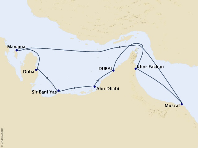 11-night Arabian Gulf and Emirates Voyage Map