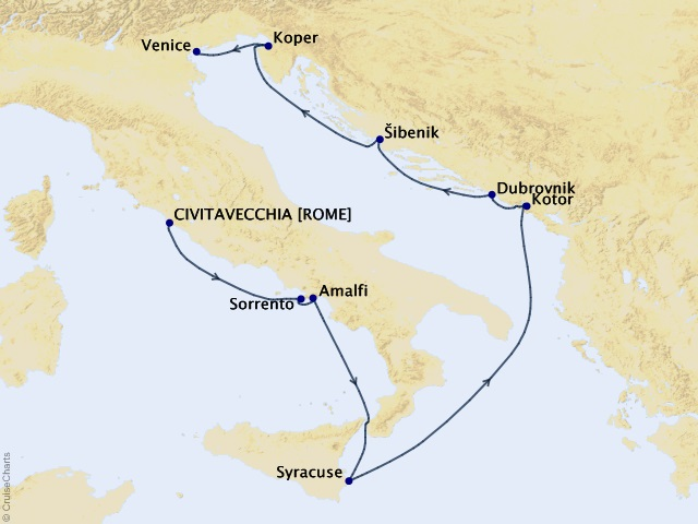 10-night Amalfi to Dalmatian Coast Voyage Map
