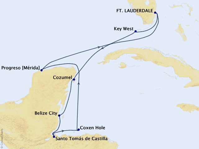 11-night Western Caribbean Cruise Map