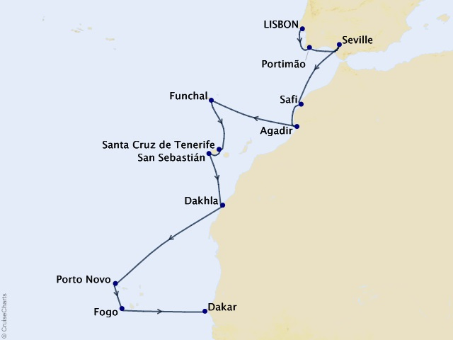 17-night Northern Africa Cruise Map
