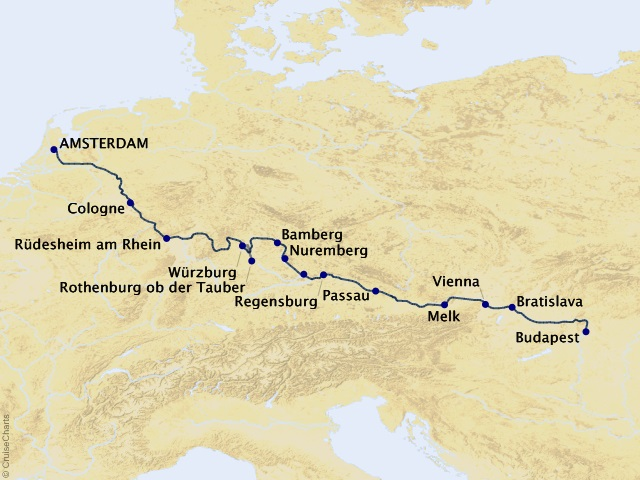 14-night Amsterdam to Budapest by Riverboat-Southbound Cruise Map