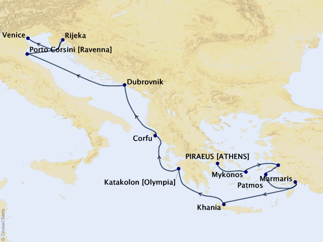 12-night Aegean Glories Voyage Map
