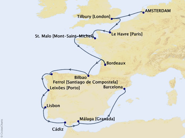 14-night Vines of History Voyage Itinerary Map