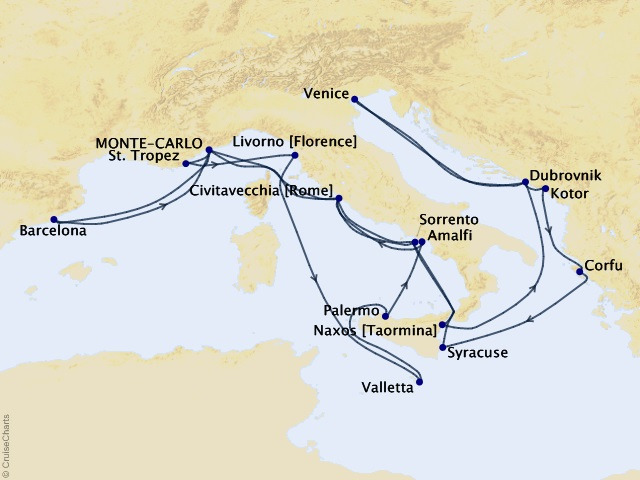 28-night Legends of the Med Cruise Map
