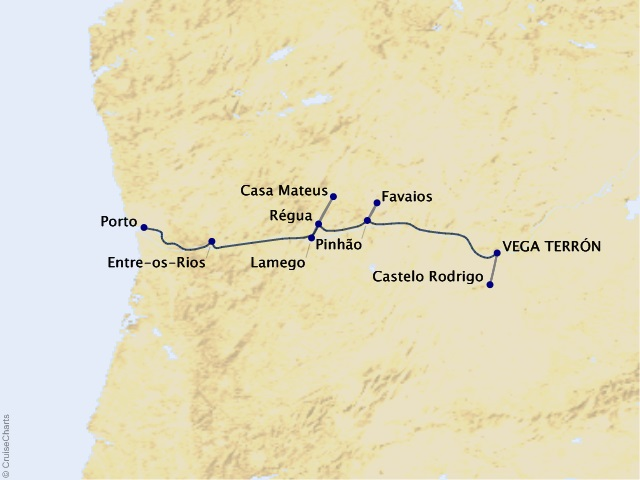 7-night Flavors of Portugal and Spain - Wine Cruise Map