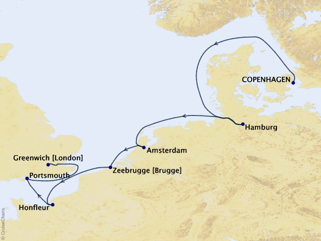 11-night Northern Europe Cruise Map