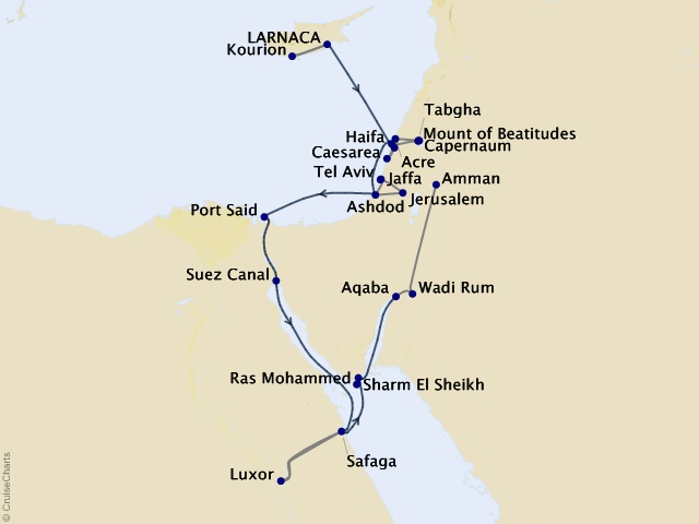 12-night Crossroads of Empires – Cyprus, Israel, Egypt, and Jordan Expedition Map