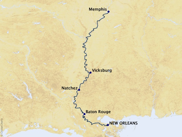 7-night Mississippi Holiday Season River Cruise Map