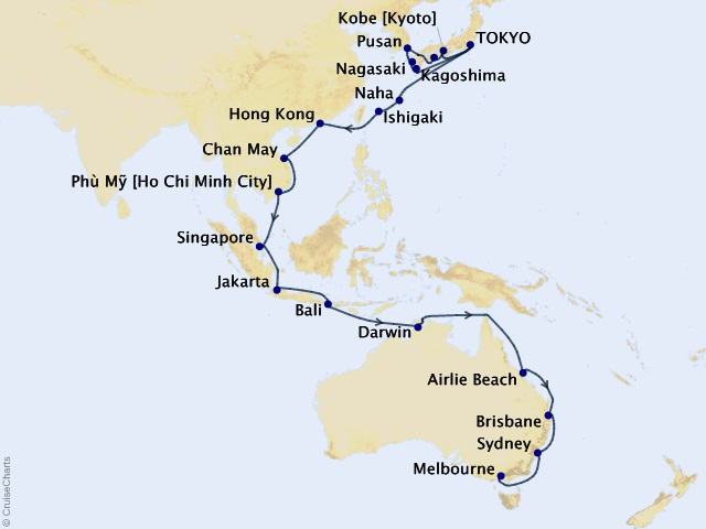 40-night Tokyo to Melbourne Cruise Map