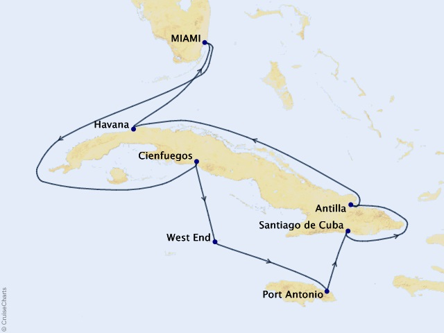 12-night Stars of the Cuban Sky Cruise Map