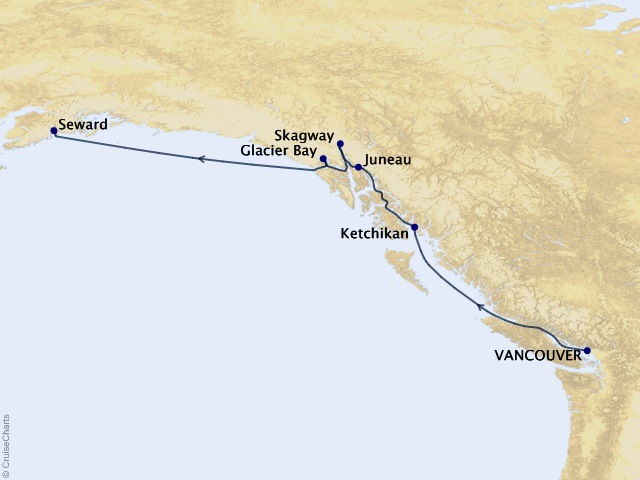 7-night Glacier Discovery Northbound Cruise Itinerary Map