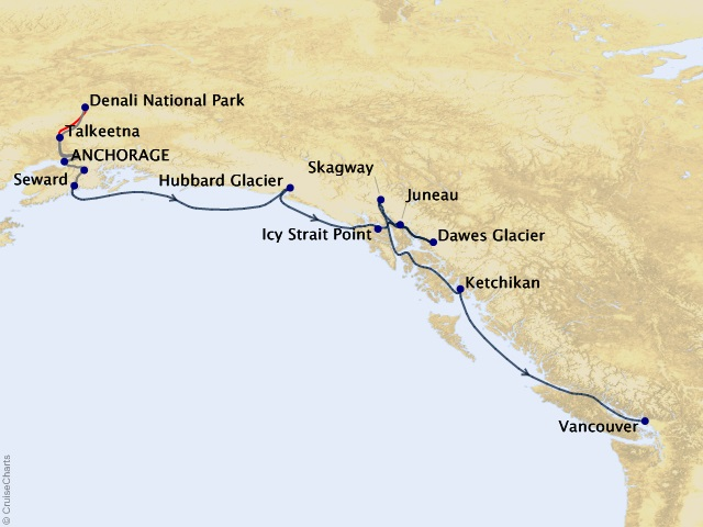 10-night Anchorage Denali Express – Southbound Cruisetour Map