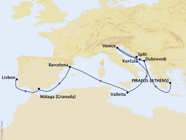 15-night 2021 The Finest World Cruise Segment Itinerary Map