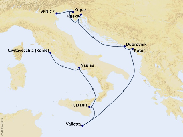 9-night Dalmatian Coast & Italy Cruise