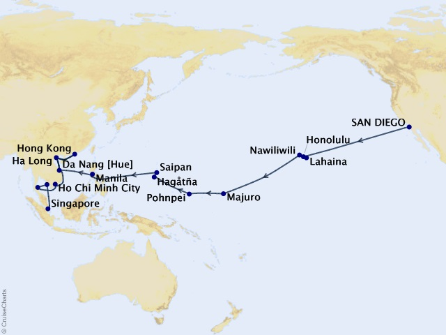 47-night Pacific Isles & Asian Temples Cruise Map