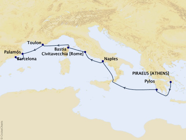 8-night Gems of Italy and Spain Cruise Map