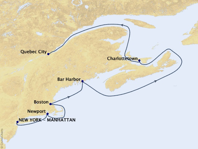 8-night Fall Foliage Sojourn Cruise Itinerary Map