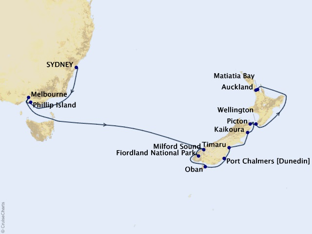 16-night Australia and New Zealand Cruise Map