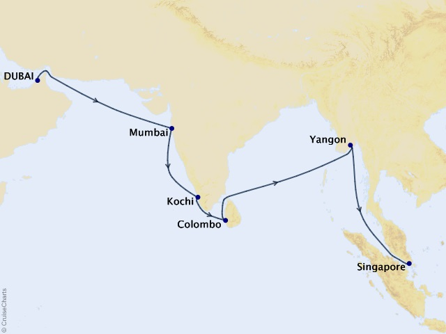 19-night Spice Route Voyage Map