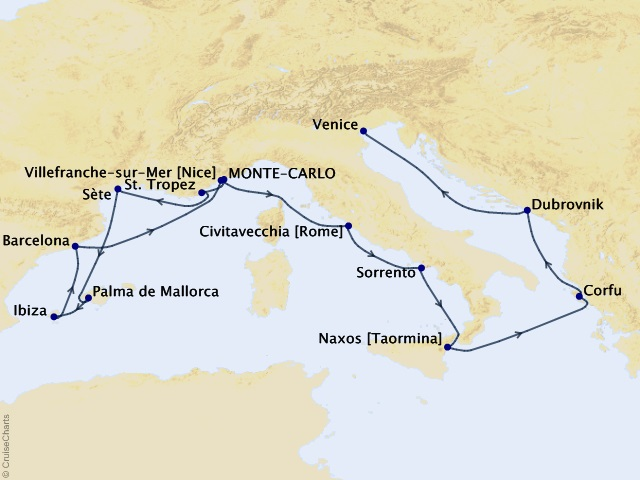 15-night Grand Journey – the Mediterranean & the Adriatic Sea Cruise Map