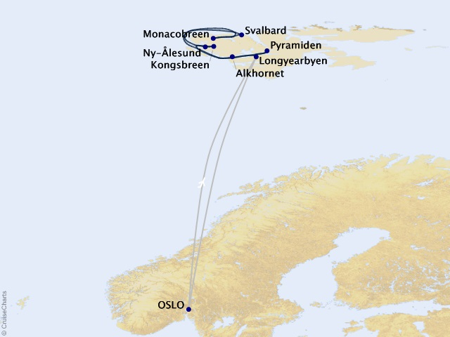 9-night Arctic Allure: Spitsbergen & the Midnight Sun Cruise/Land Package Map