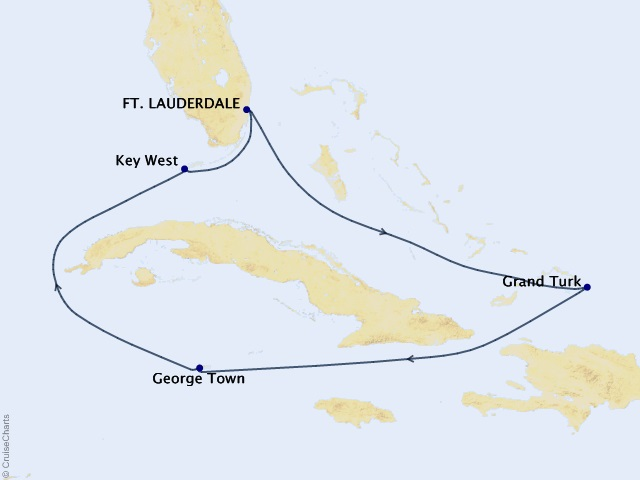 7-night Caribbean Cornucopia Cruise Map