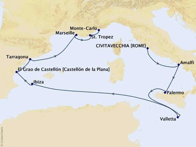 10-night Mediterranean Marvels Voyage Map
