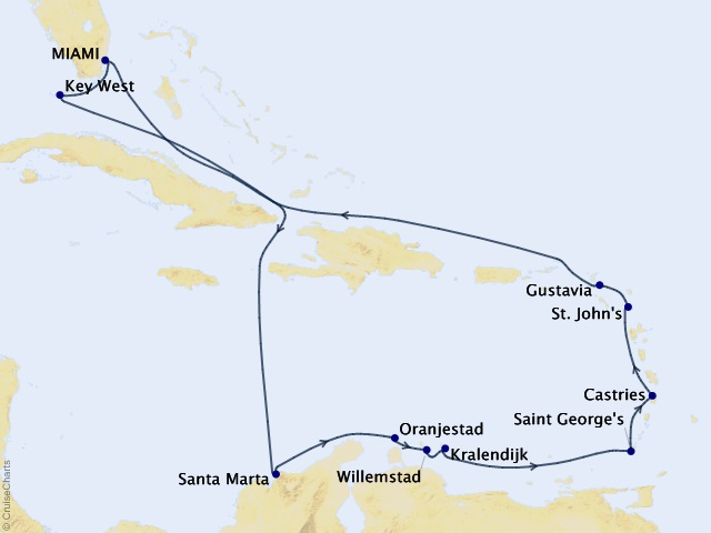 14-night Caribbean Daydreamer Cruise Map