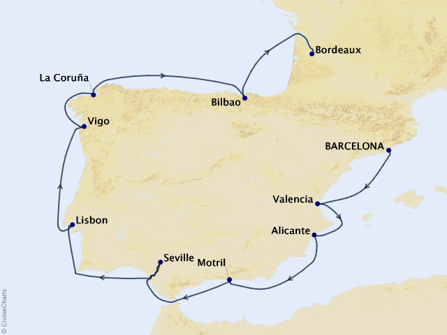 14-night Spain Intensive Voyage Map