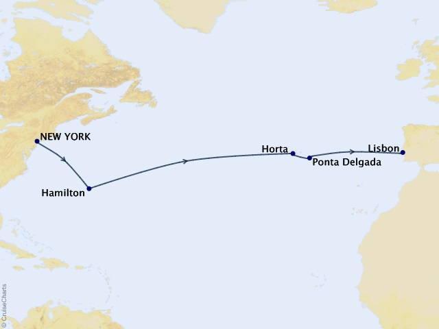 12-night Bermuda and the Azores Voyage Map
