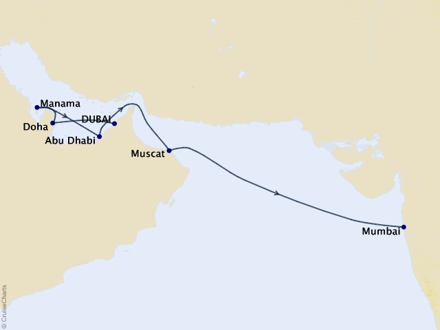 13-night Priceless Pearls of the Middle East Cruise Map