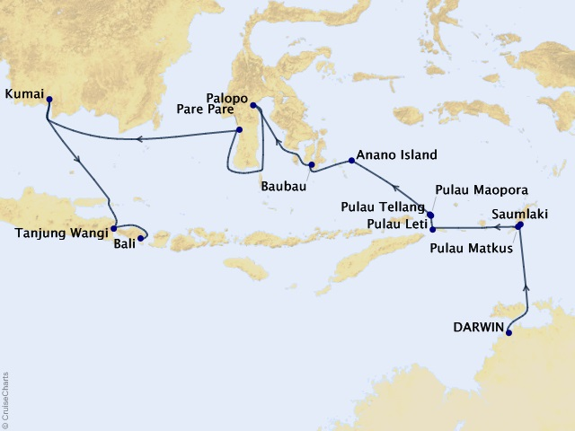 15-night Australia & New Zealand Expedition Cruise Map
