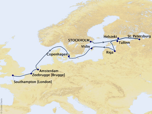 12-night World of Fine Art Cruise Itinerary Map