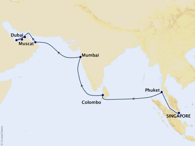 18-night Jewels of India & Arabia Cruise Map