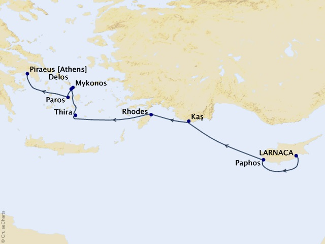 7-night Cyprus and Greek Isles Discovery Cruise Map