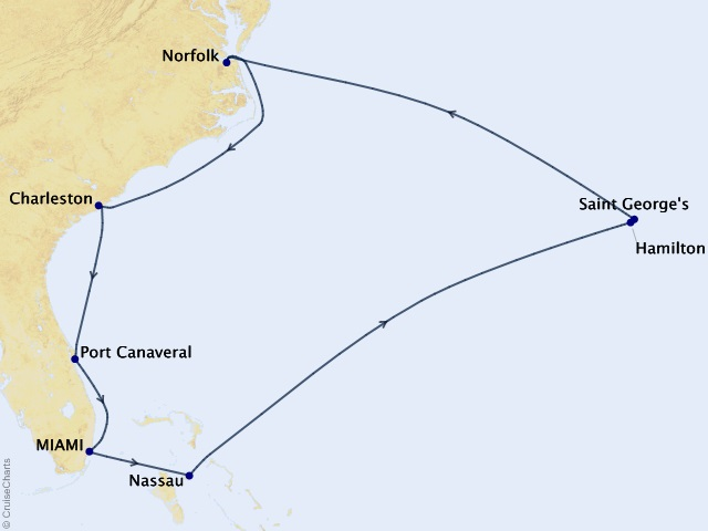 12-night South Atlantic Spring Cruise Map