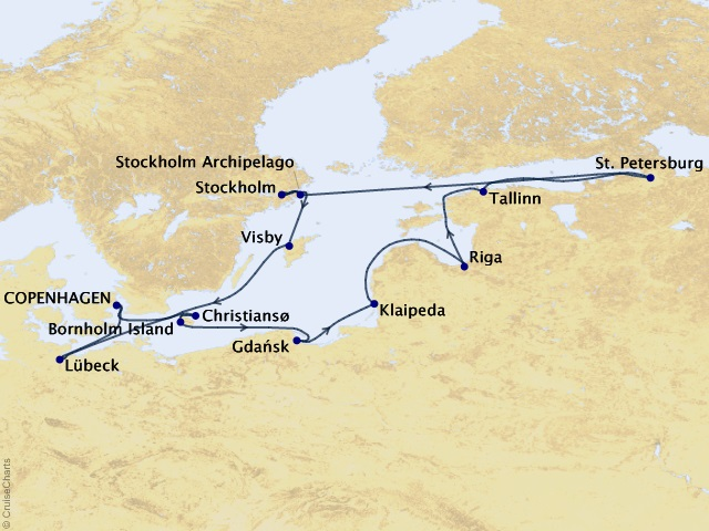 15-night Circumnavigating the Baltic Sea Cruise Map