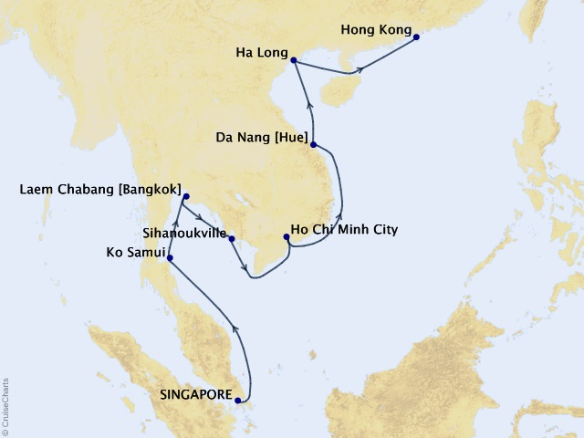 15-night Southeast Asia Highlights Cruise Map