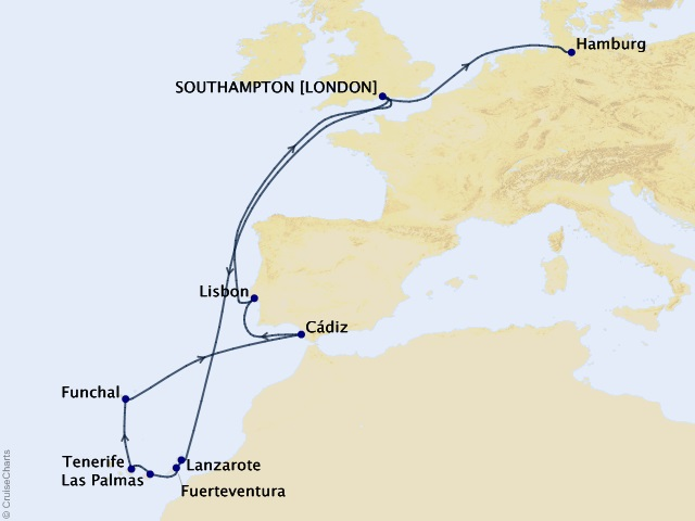 17-night Canary Islands Celebration Cruise Map