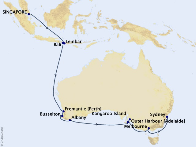 18-night Asia & Australia Cruise Map