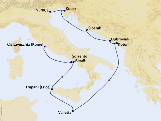 11-night Mediterranean Pursuit Voyage Map