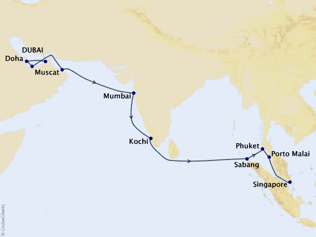 18-night Jewels of Arabia and India Cruise Map