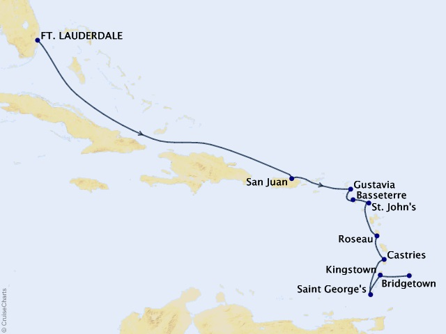 11-night Eastern and Southern Caribbean Cruise Map