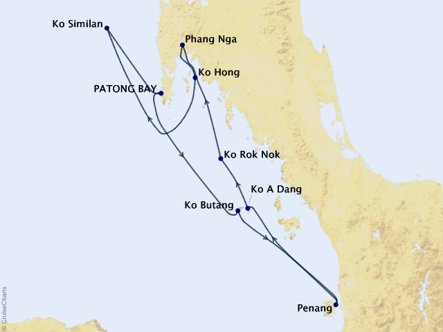 7-night Southern Thailand Cruise Map